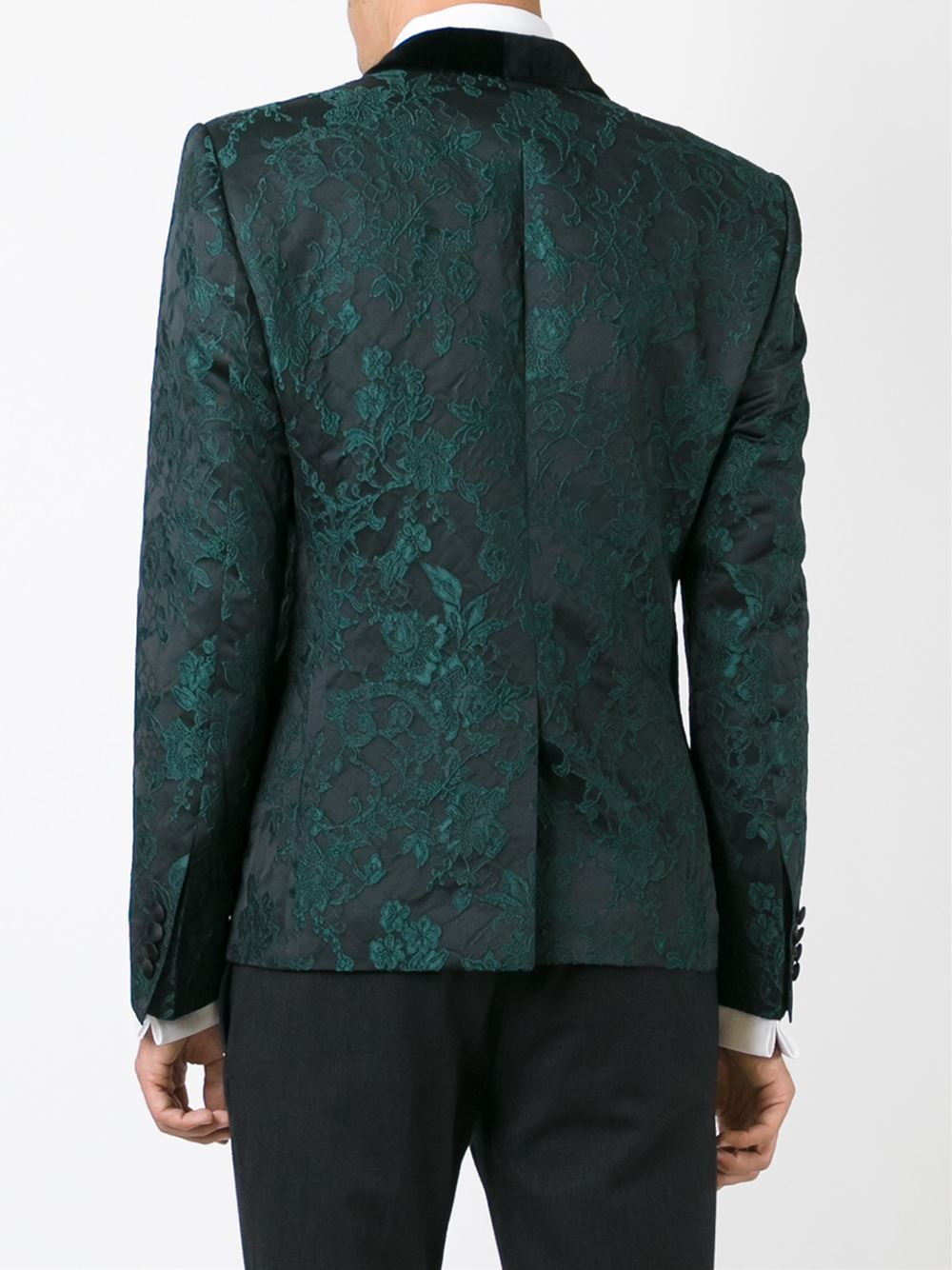 Dolce gabbana embroidered floral lace tuxedo jacket in