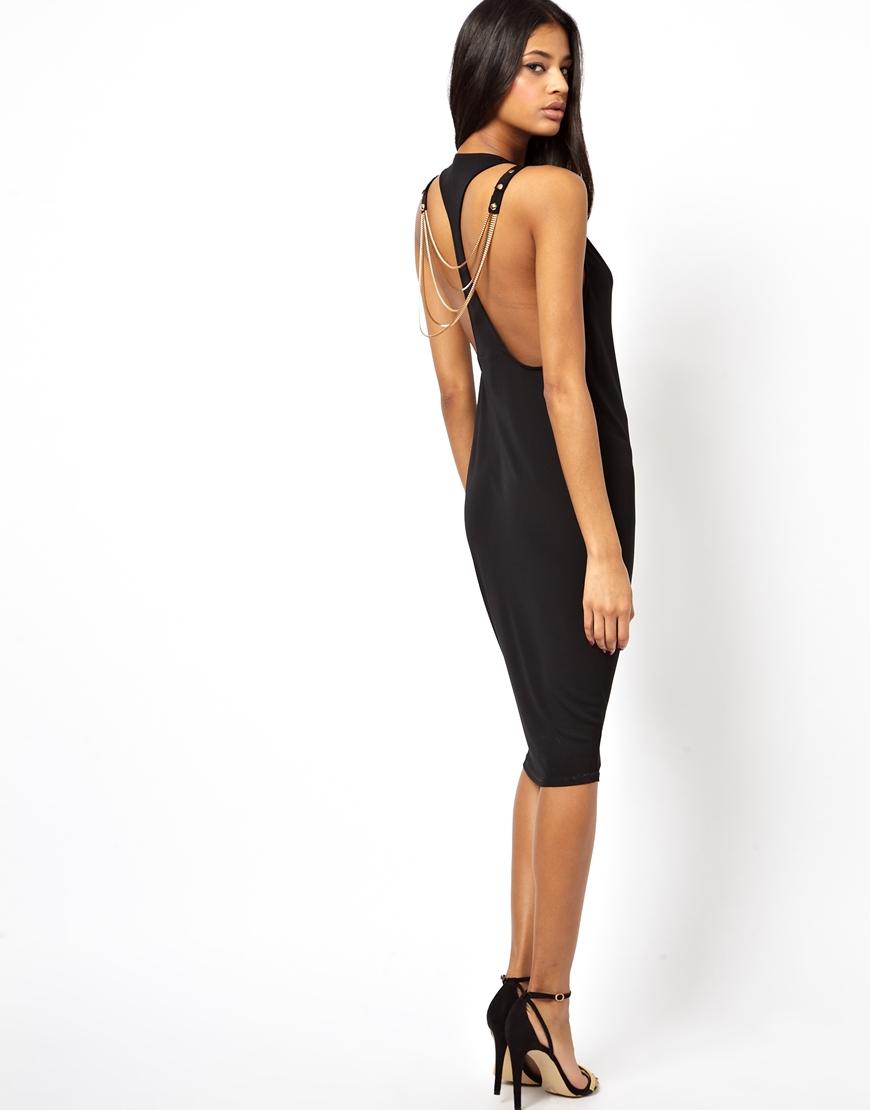 Free Shipping New Velvet Drape Chain Back Midi Dress - Black Asos Cheap Lowest Price qX4E5Sy