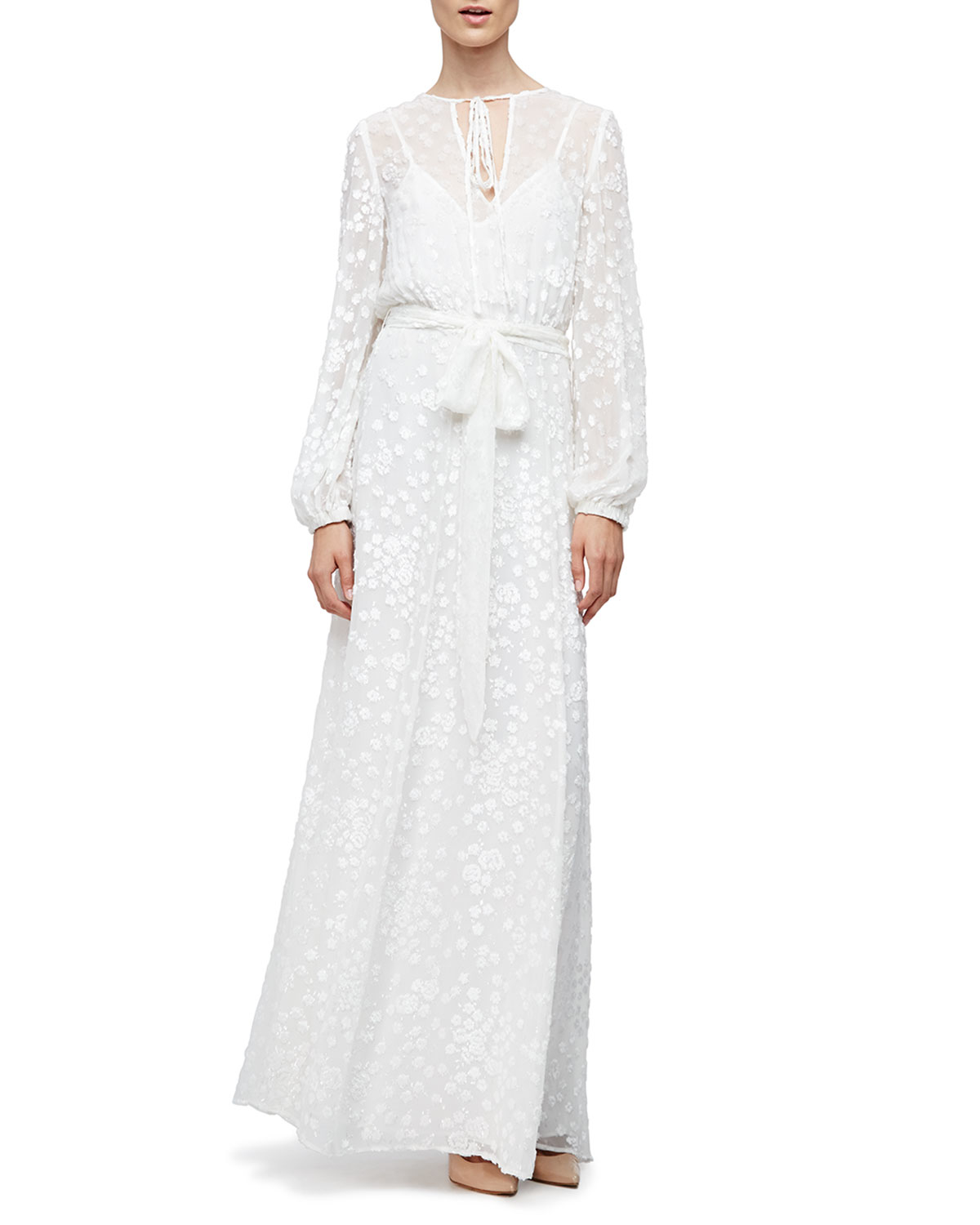 Midi Peasant Dress Co Long Sleeve Floral Embroidered Maxi