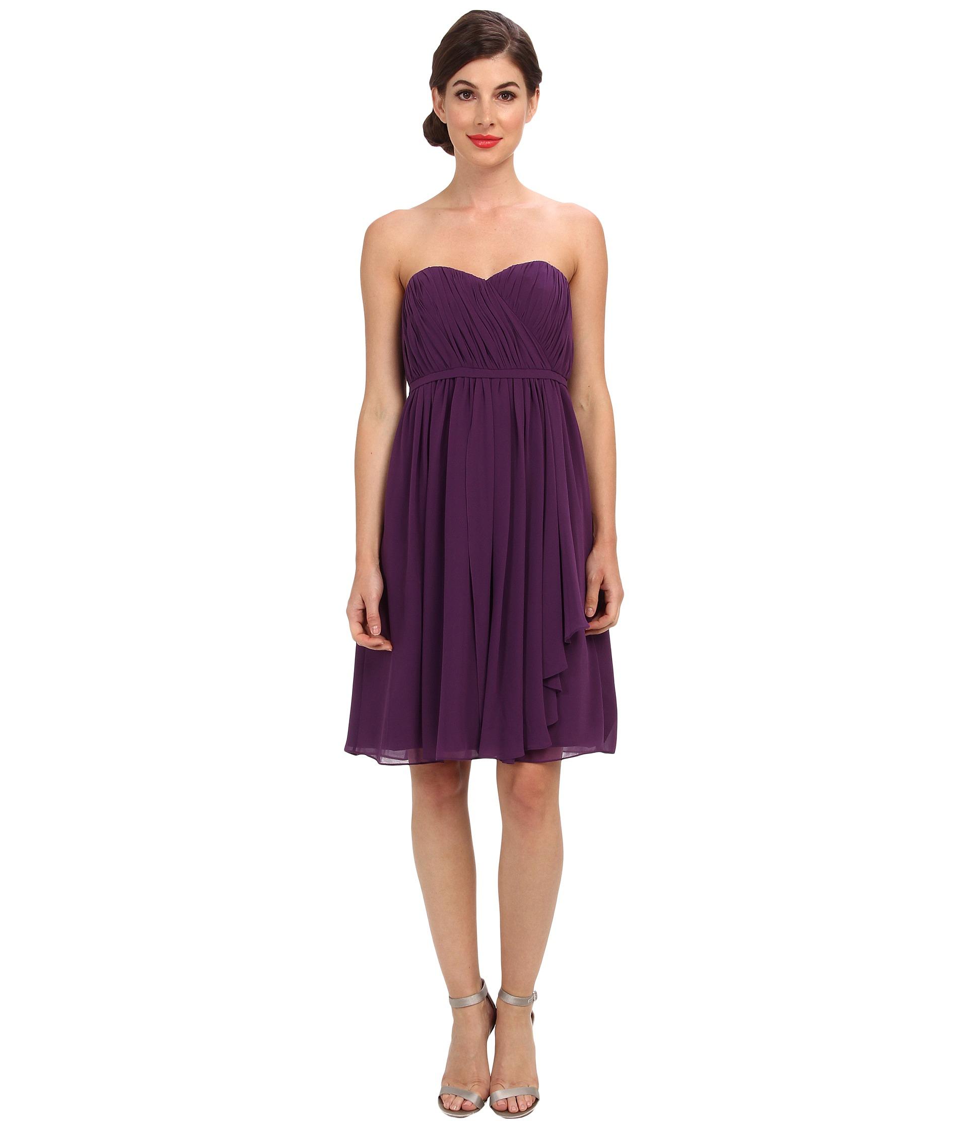 Donna morgan Lindsey Strapless Chiffon Dress in Purple | Lyst