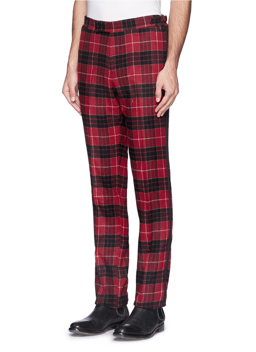 Ovadia And Sons Tartan Plaid Flannel Pants In Red For Men