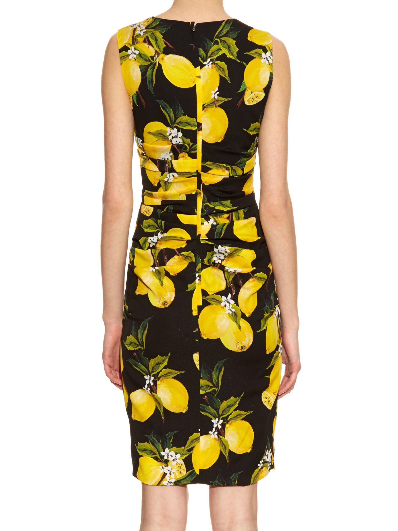 Lyst Dolce Amp Gabbana Lemon Print Ruched Silk Dress In Black