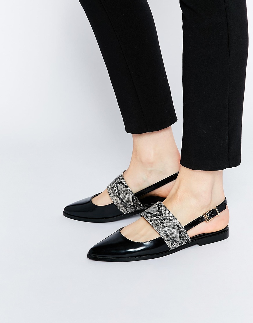 asos motion pointed flat shoes in black lyst