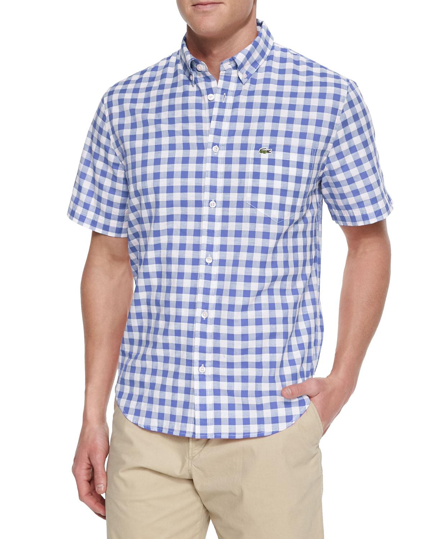 lacoste gingham check short sleeve shirt in blue for men