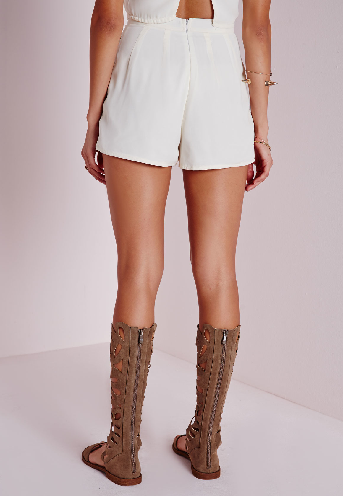 Missguided floral embroidered high waisted shorts white lyst