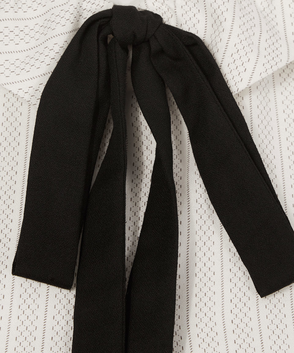 A.P.C. Leather White Striped Tie Neck Collared Blouse