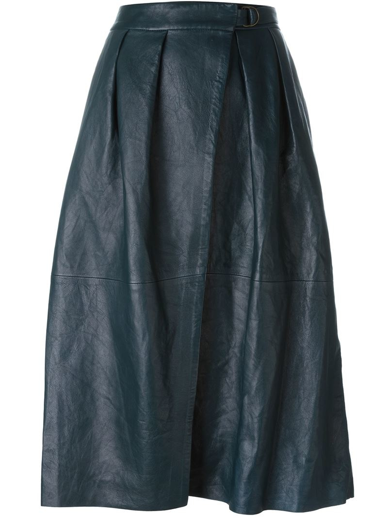 forte forte a line wrap skirt in blue lyst