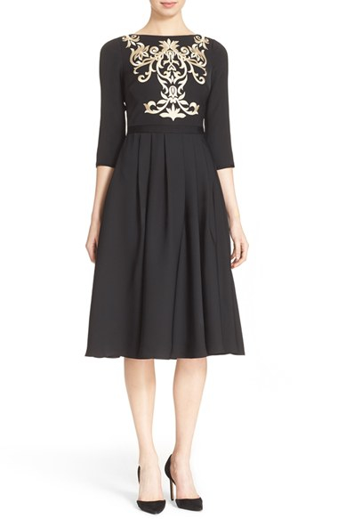 Lyst Ted Baker Shamari Embroidered Midi Dress In Black