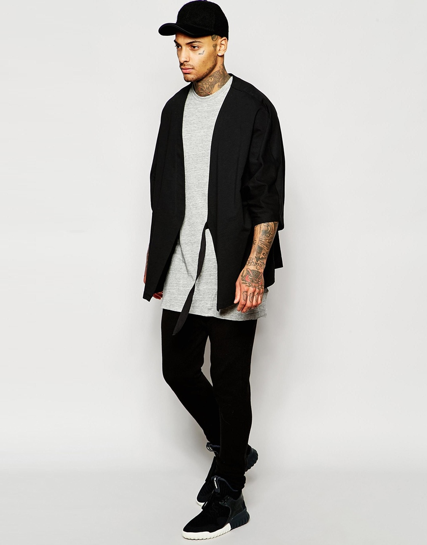 Asos Kimono Cardigan With Belt - Black in Black for Men | Lyst