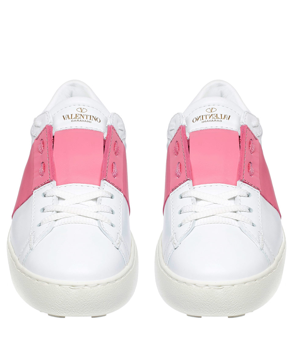 Lyst Valentino Open Leather Low Top Sneakers In Pink