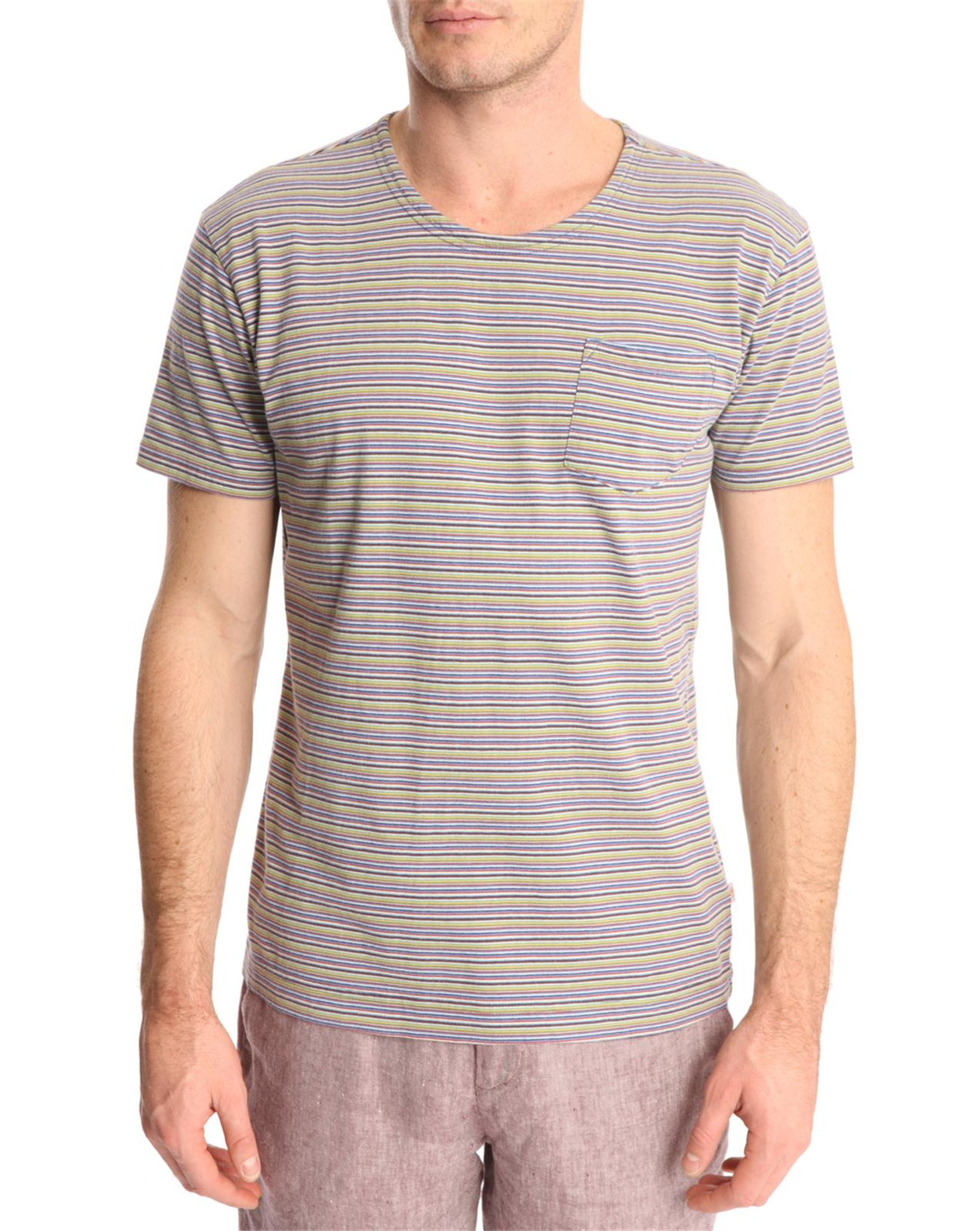 knowledge cotton apparel yarndyed multi coloured striped t shirt in gray for men lyst. Black Bedroom Furniture Sets. Home Design Ideas