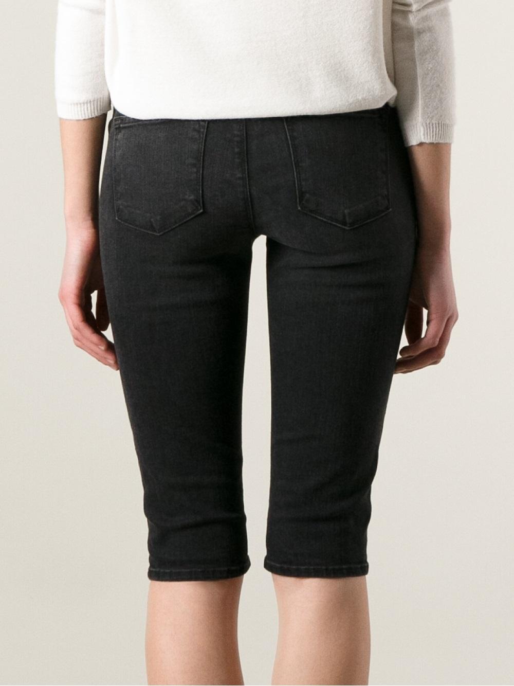 9dc758959 J Brand Knee Length Denim Bike Shorts in Black - Lyst