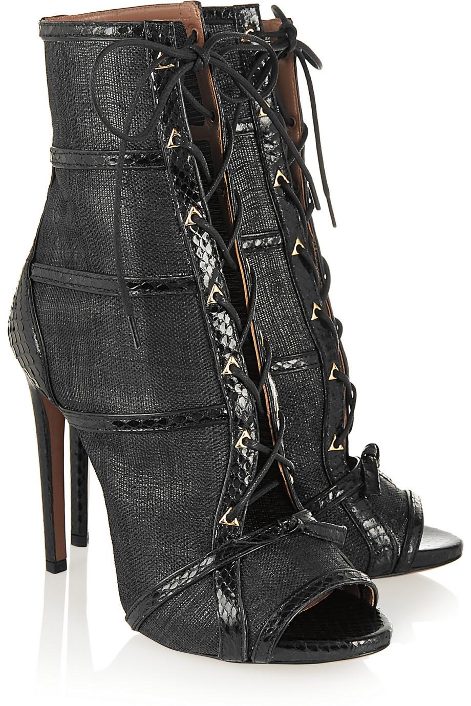 Alaïa Watersnake-Trimmed Raffia Ankle Boots in Black