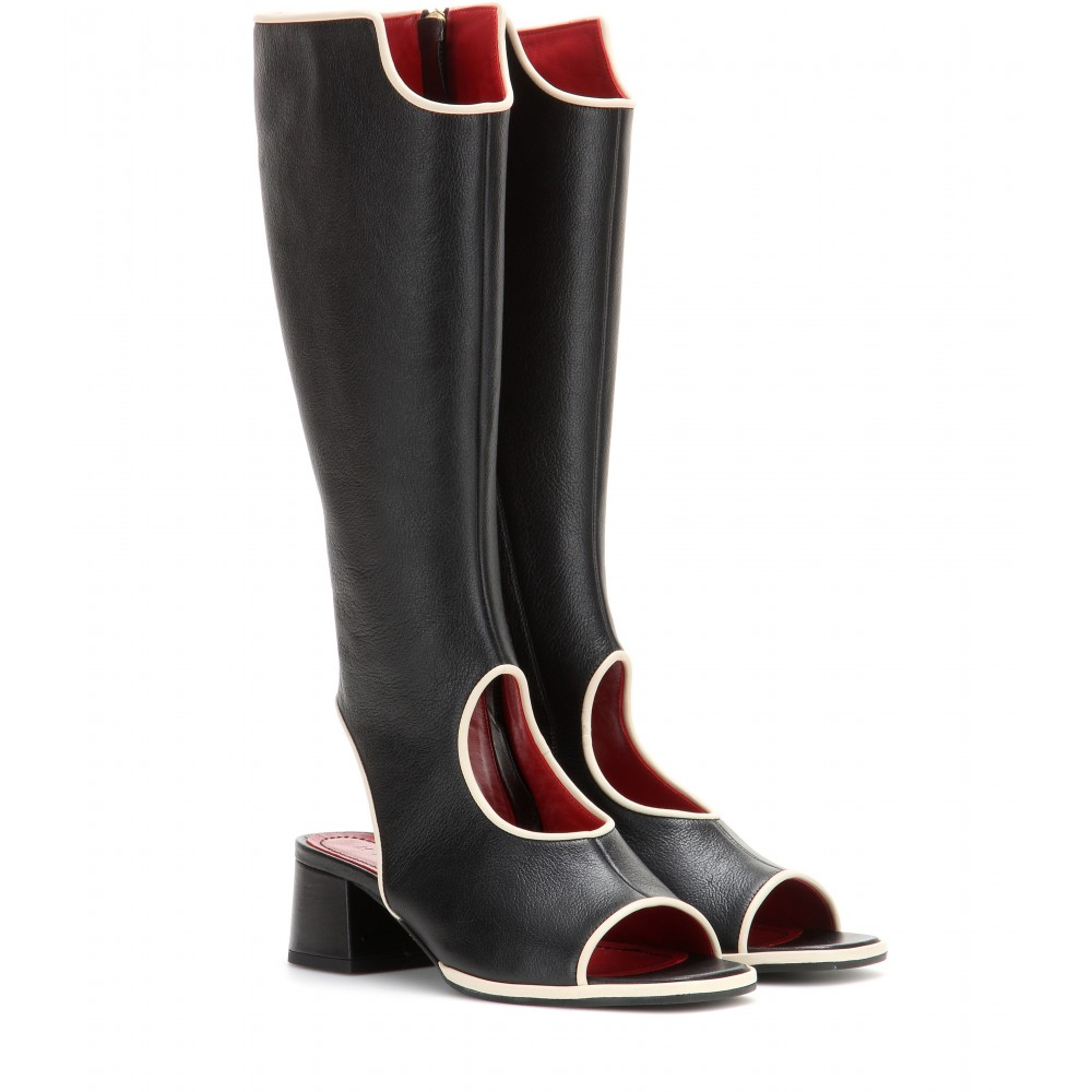 marni cut out leather knee high boots in black lyst