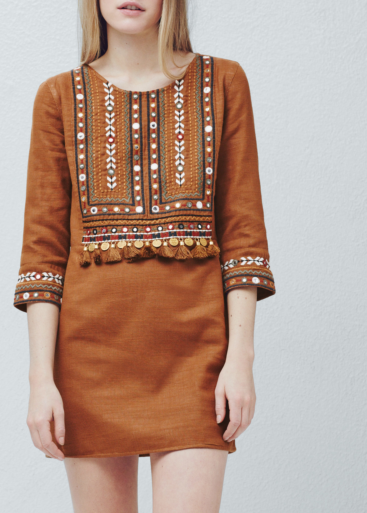 Mango bead embroidery dress in brown lyst