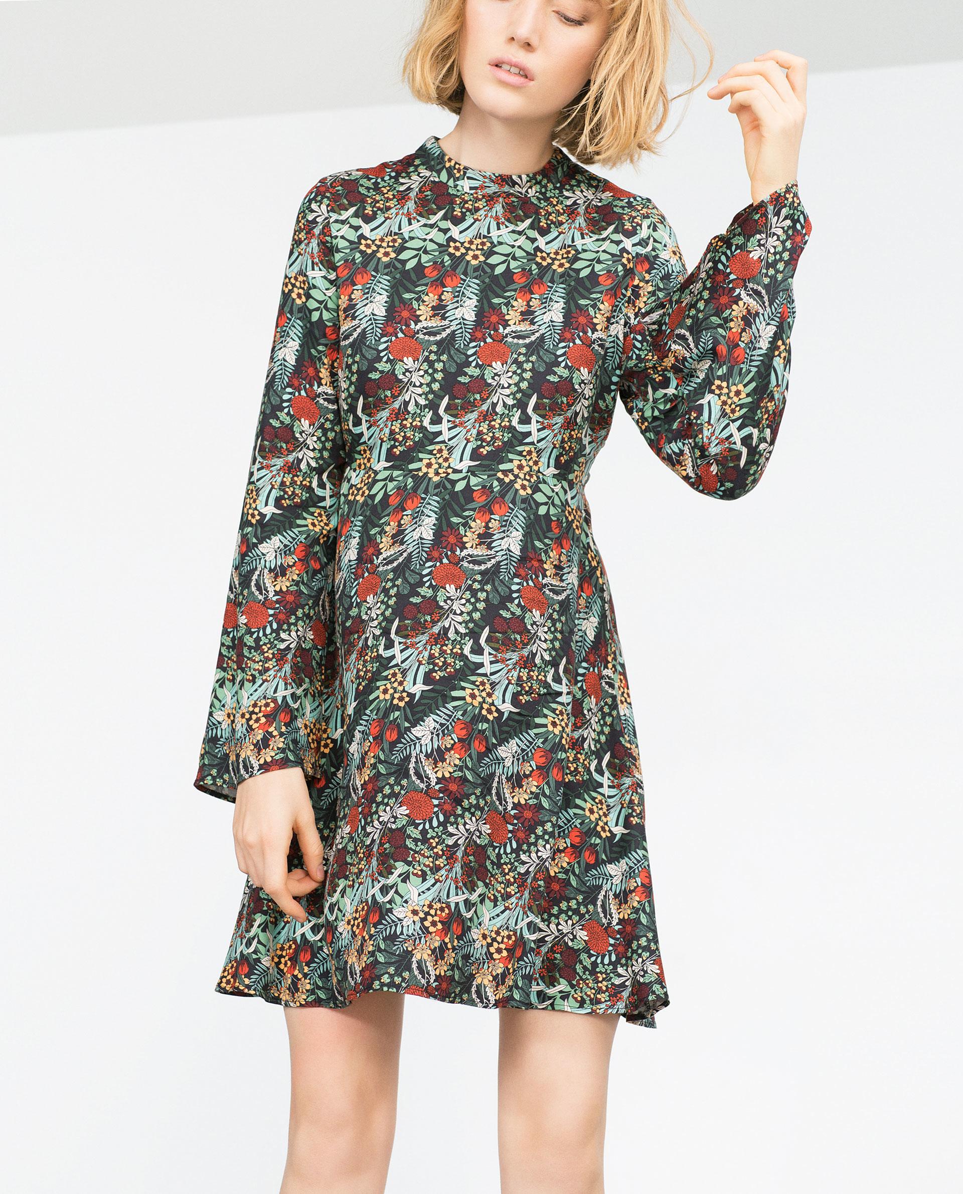 zara floral print dress in green lyst