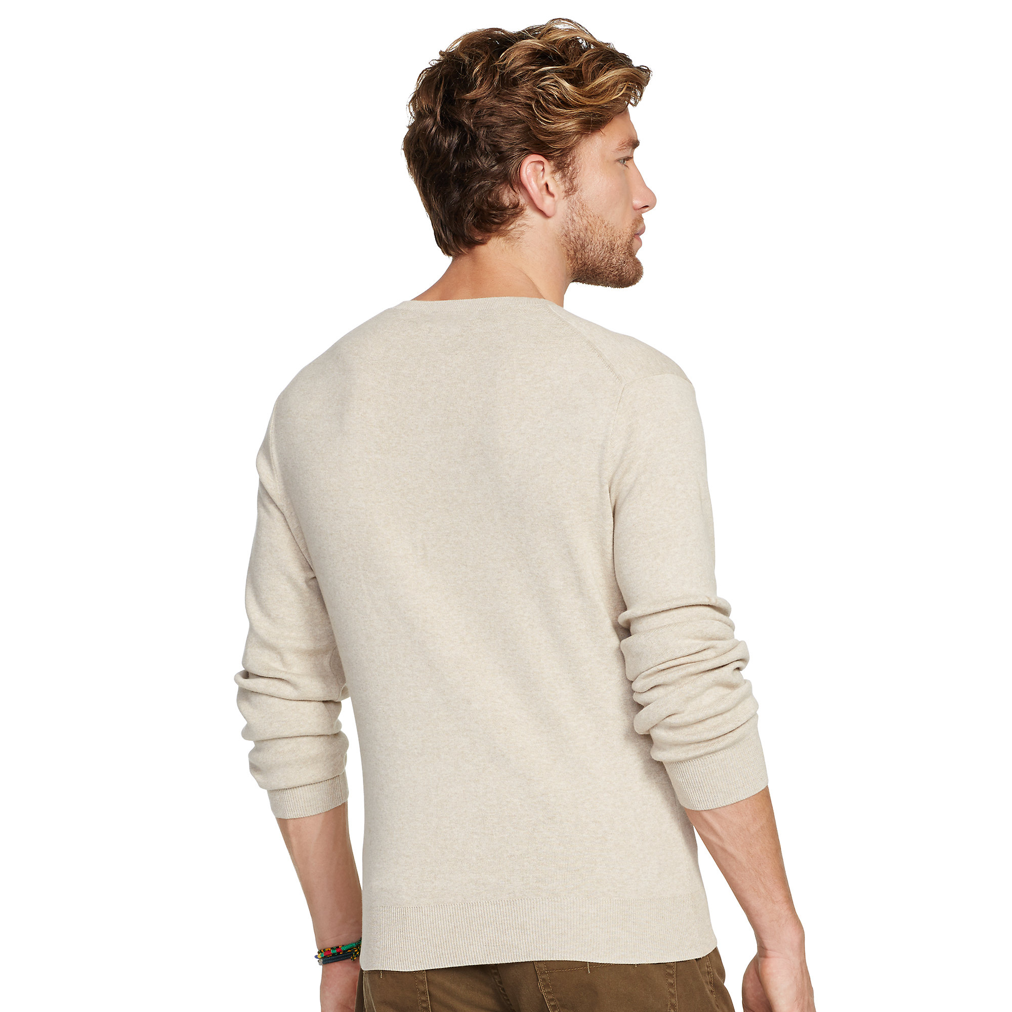 Polo Ralph Lauren. Beige Pima Cotton V-neck Sweater
