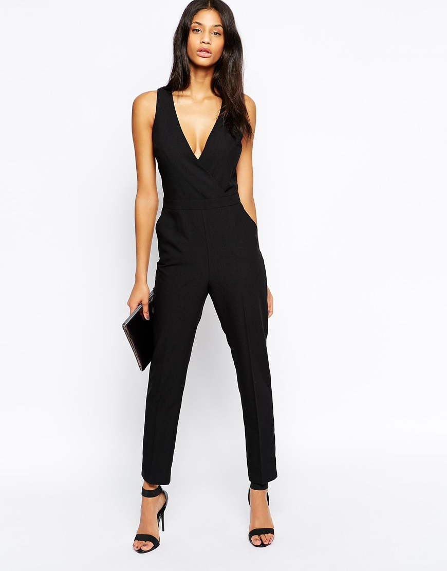 asos jumpsuit with chic wrap in black lyst