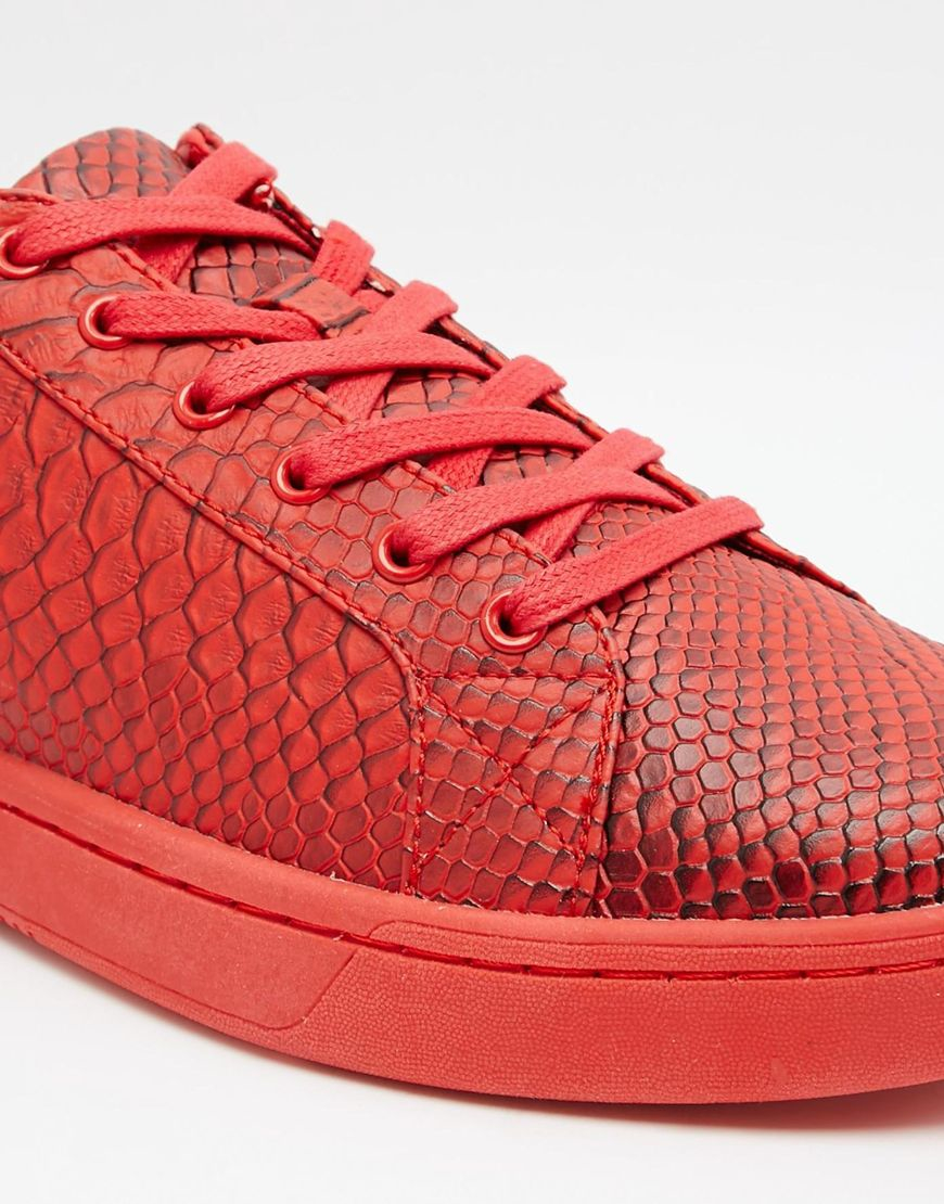 ASOS Leather Lace Up Trainers In Red