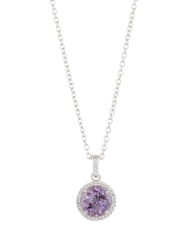 Lyst Neiman Marcus 14k Amethyst Amp Diamond Pave Pendant