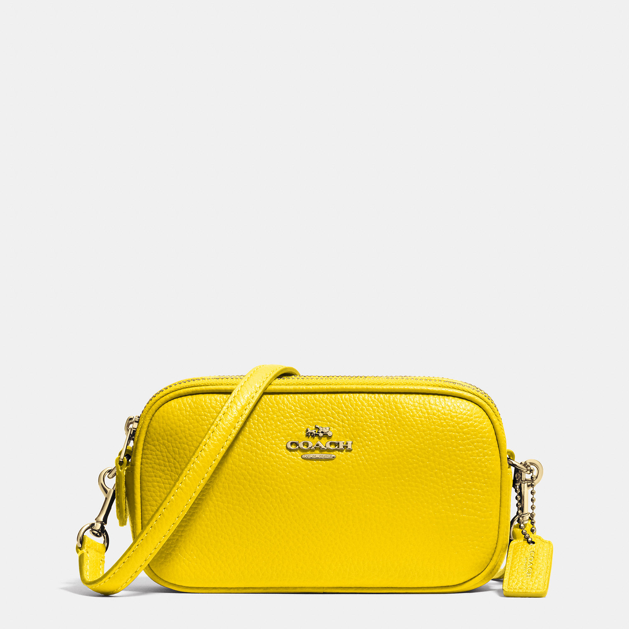 affbaf897576 Lyst - COACH Crossbody Pouch In Polished Pebble Leather in Yellow
