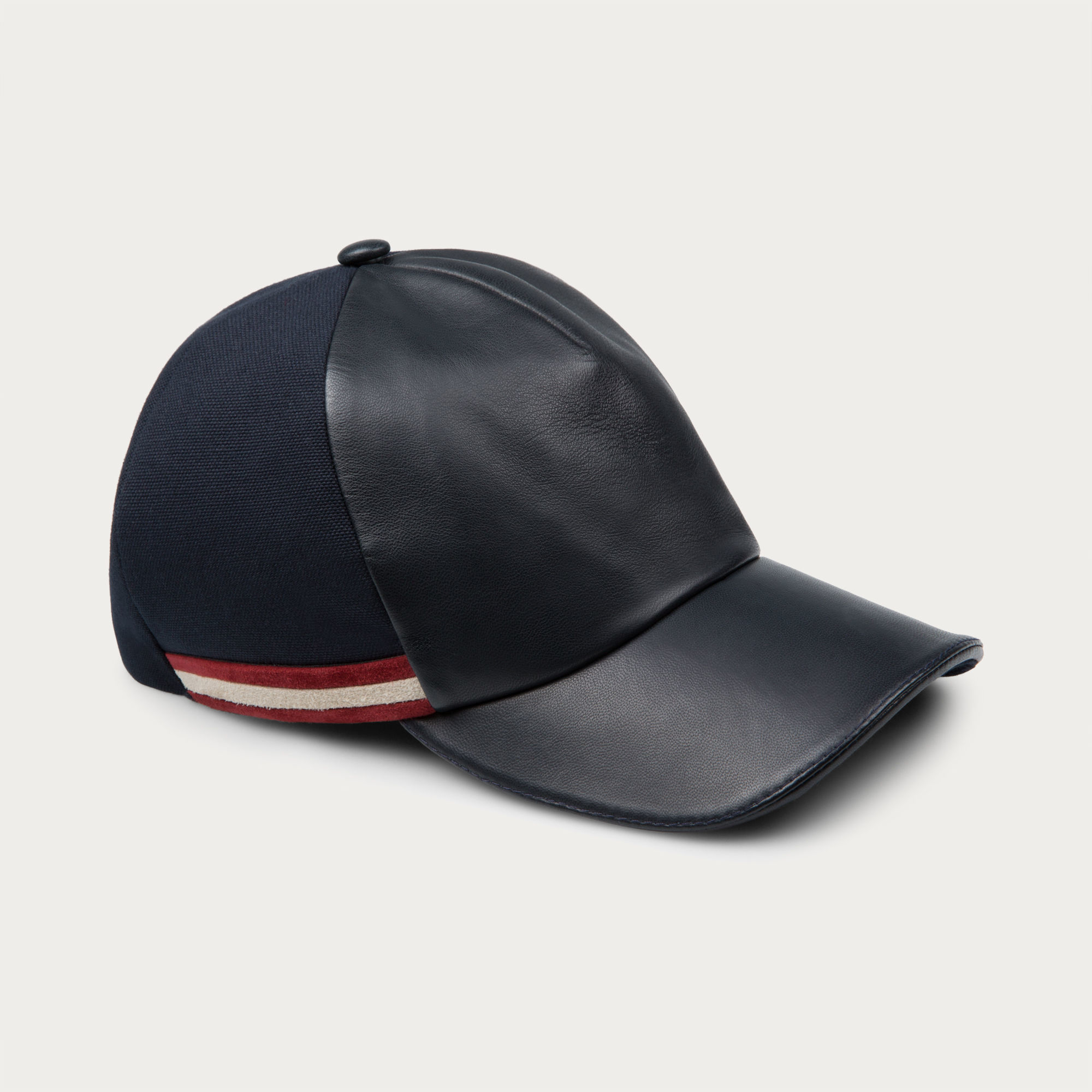 bally leather baseball cap s leather cap in navy