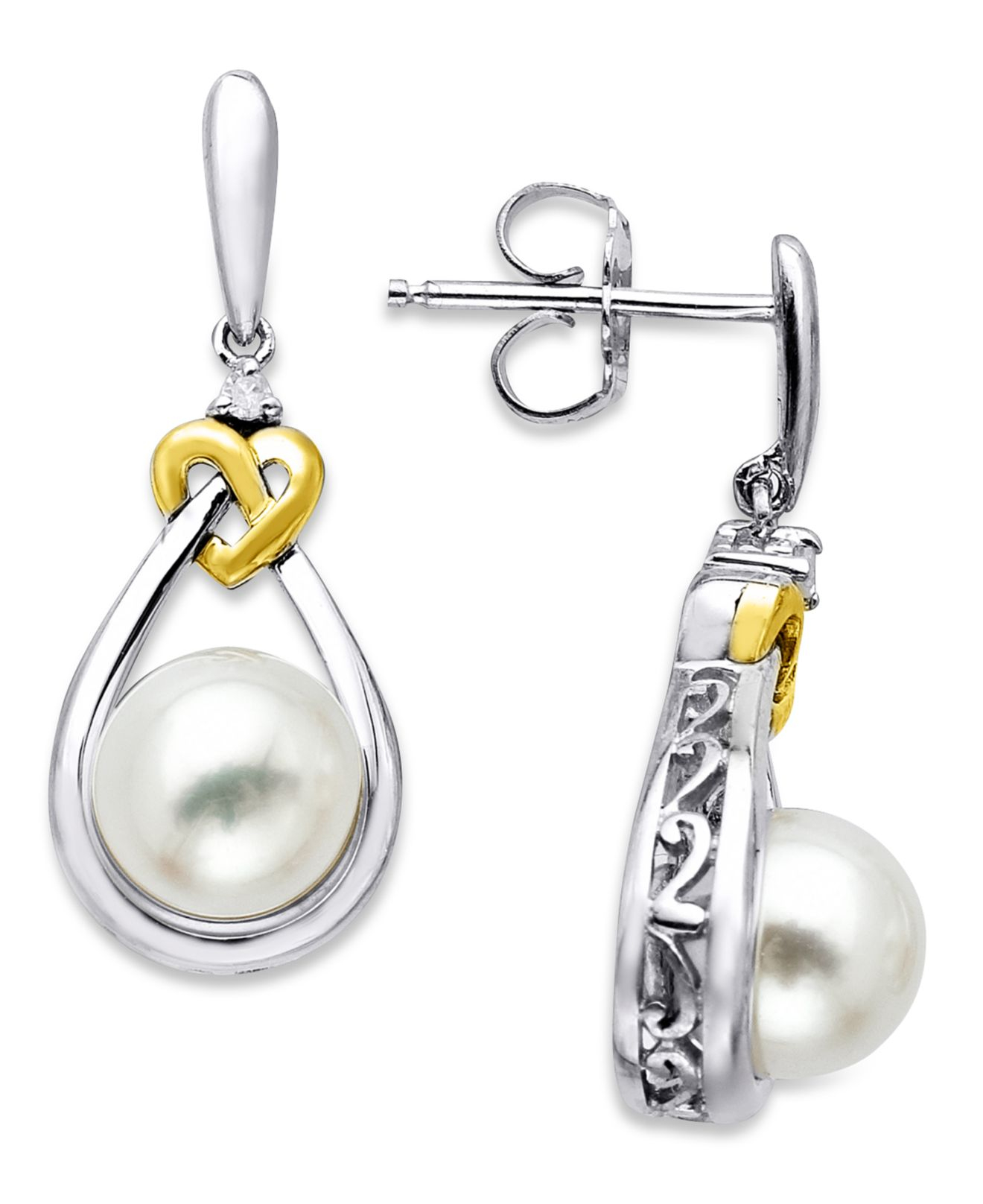 Macy's  Multicolor Pearl Earrings, Sterling Silver And 14k Gold Cultured  Freshwater Pearl And Diamond