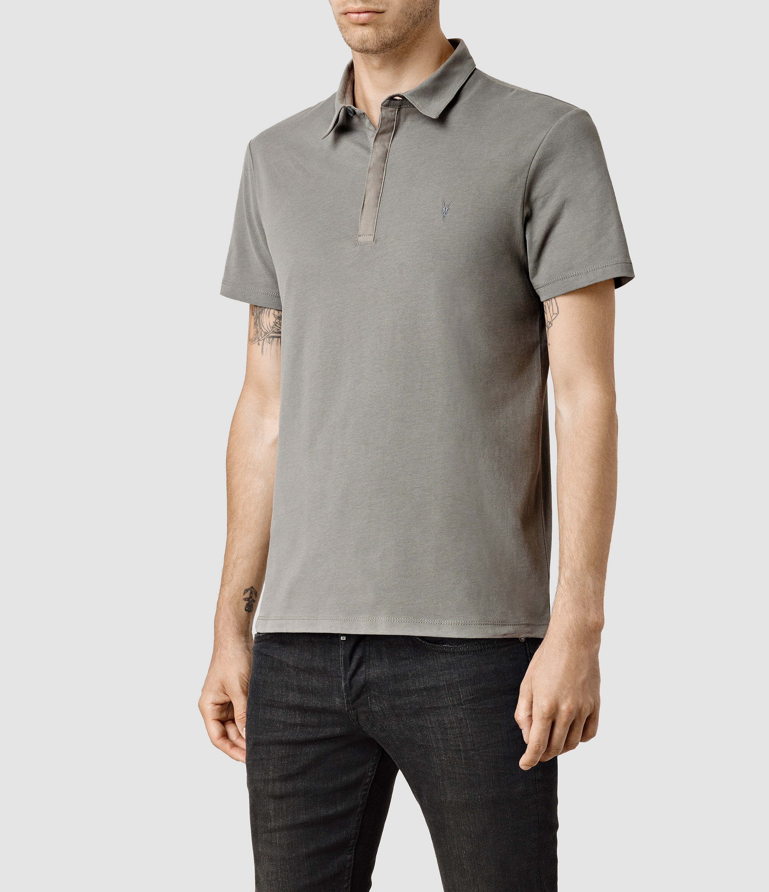 Allsaints brace polo shirt in gray for men lyst for All saints polo shirt
