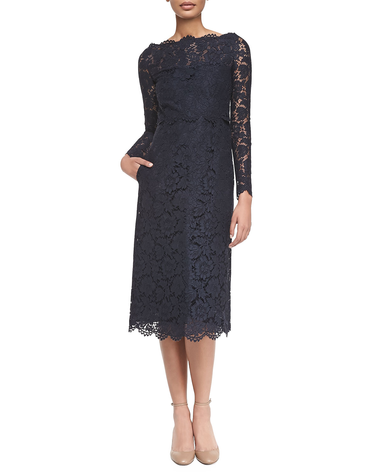 Lyst - Valentino Long-sleeve Tea-length Lace Dress in Black