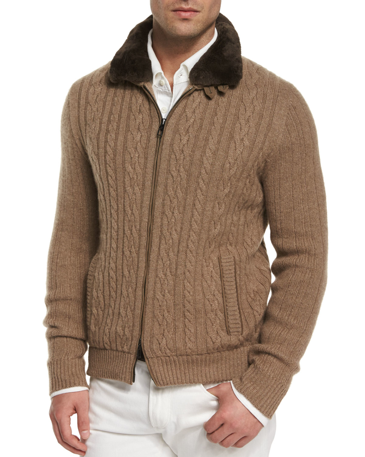 650625be6 Lyst - Loro Piana Cable-knit Cashmere Bomber Jacket in Brown for Men