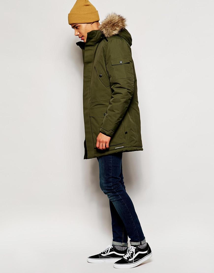 jack jones parka with bonded seams faux fur hood in green for men. Black Bedroom Furniture Sets. Home Design Ideas