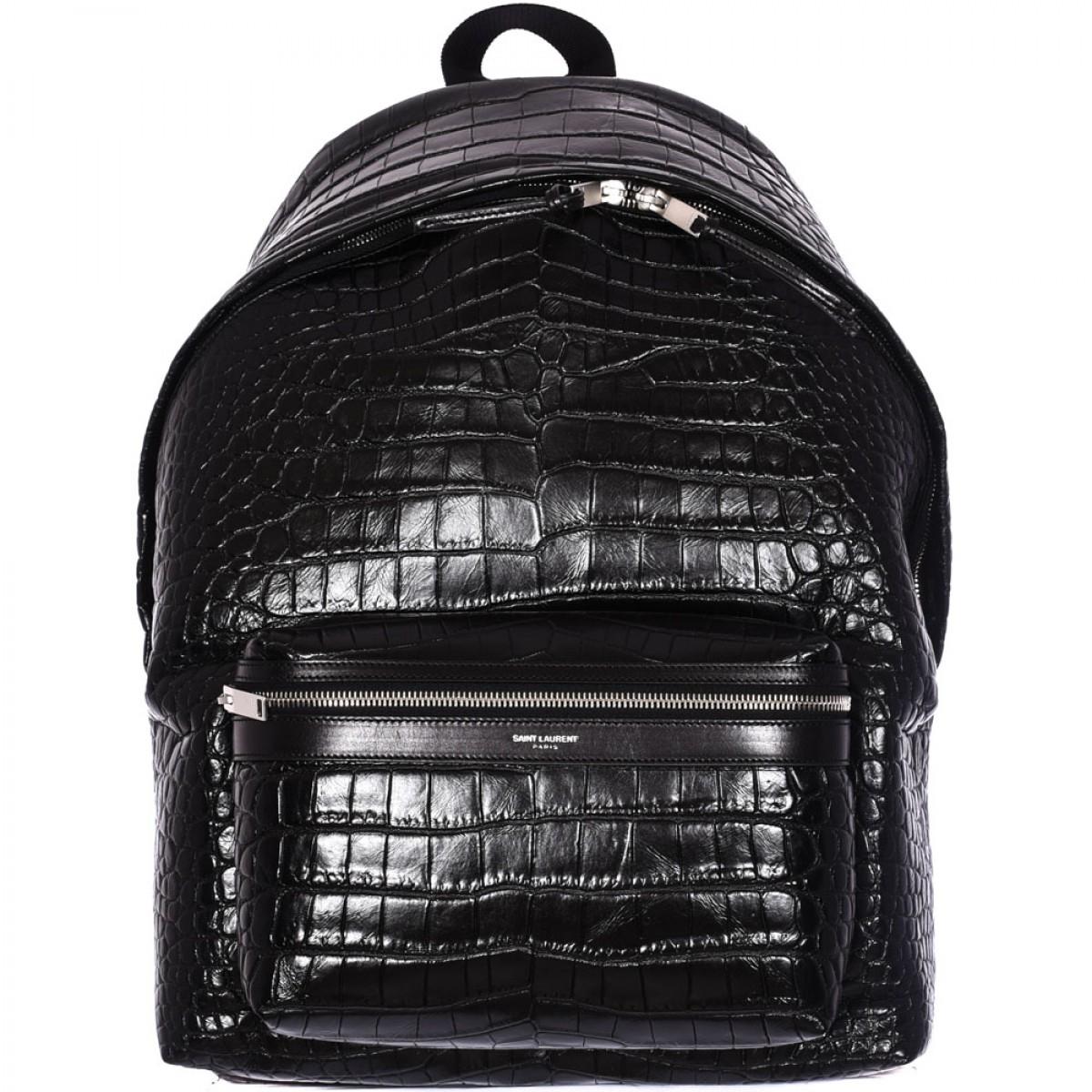 Saint laurent Black Leather Crocodile Print Backpack in Black for ...