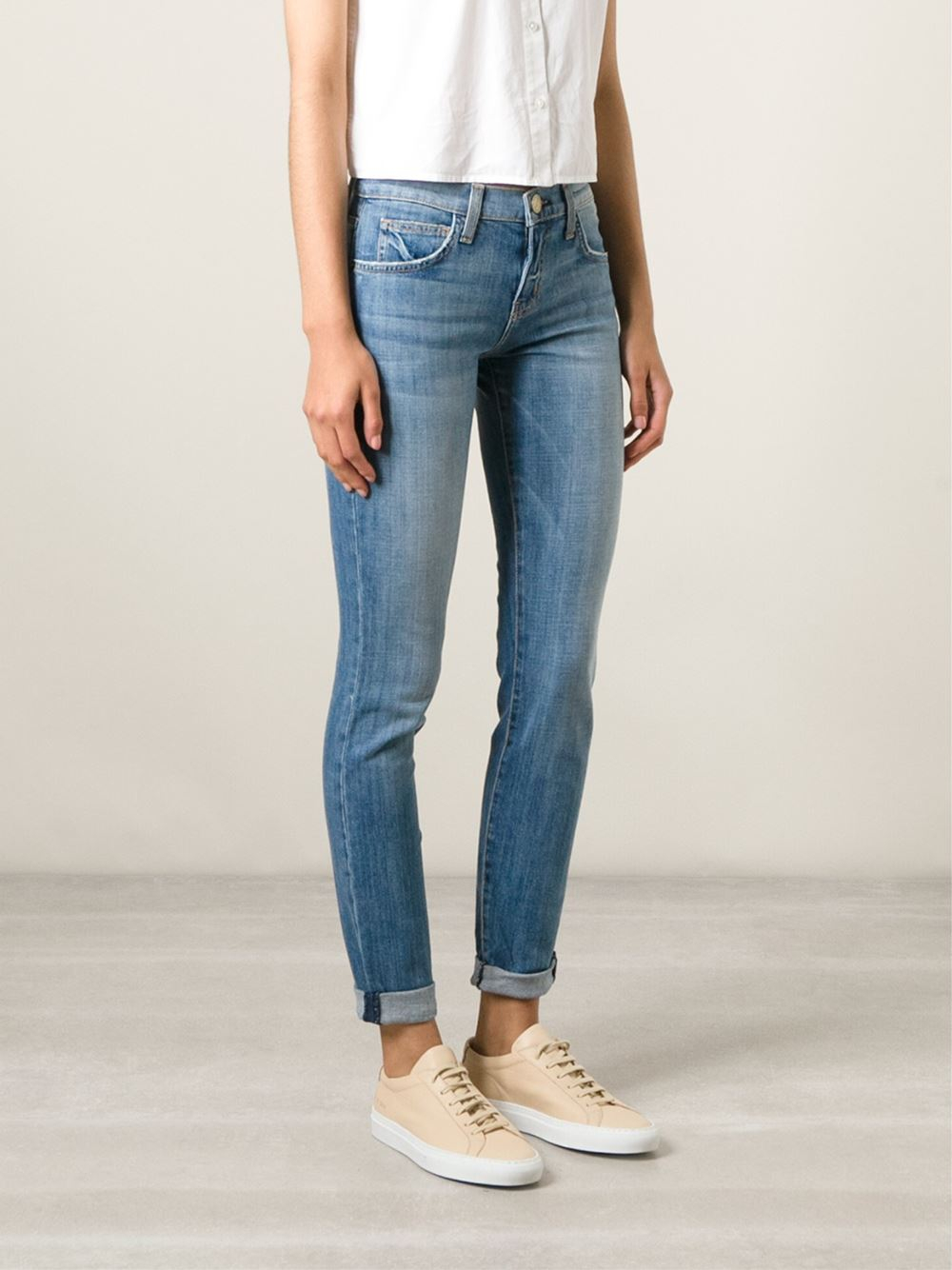 Current Elliott The Rolled Skinny Denim Jeans In Blue Lyst