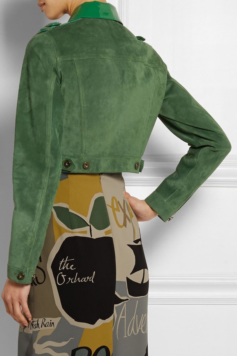 73c69fd21ea Burberry Prorsum Cropped Patent Leather-Paneled Suede Jacket in ...