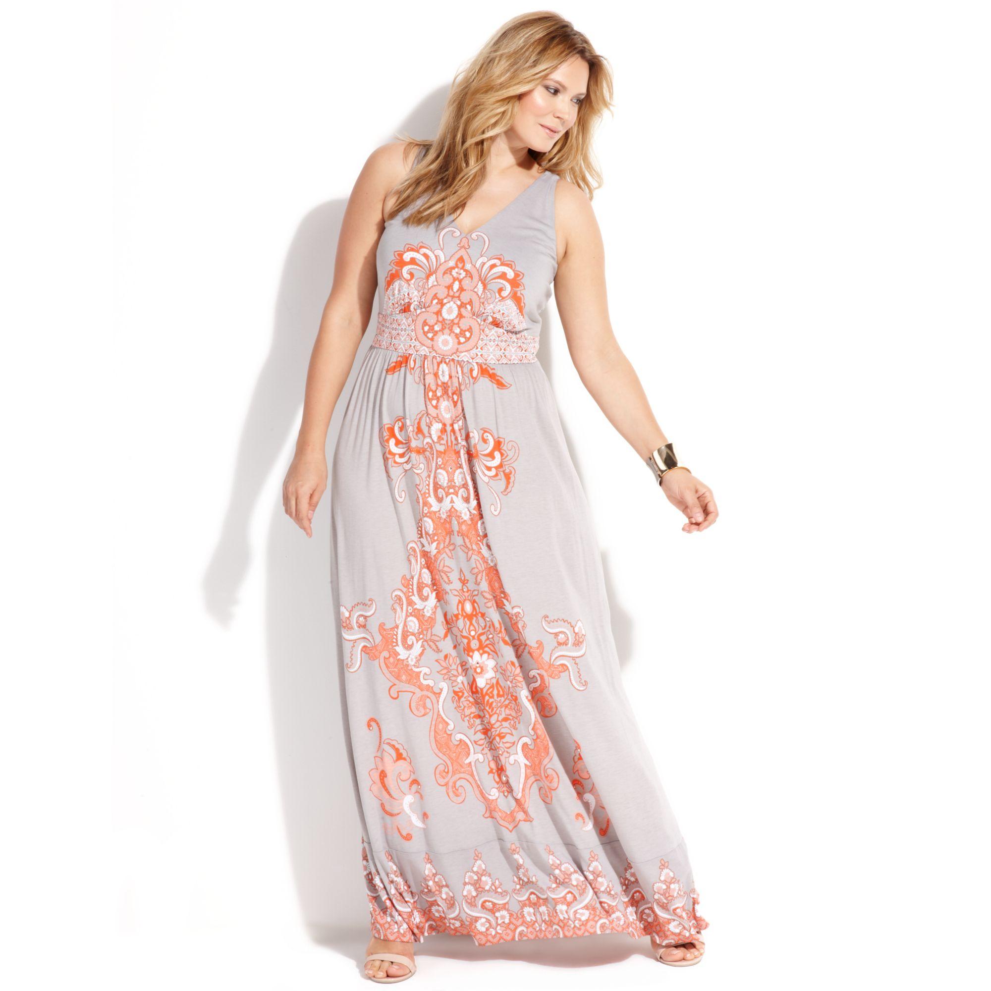 Plus Size Sleeveless Paisleyprint Maxi Dress