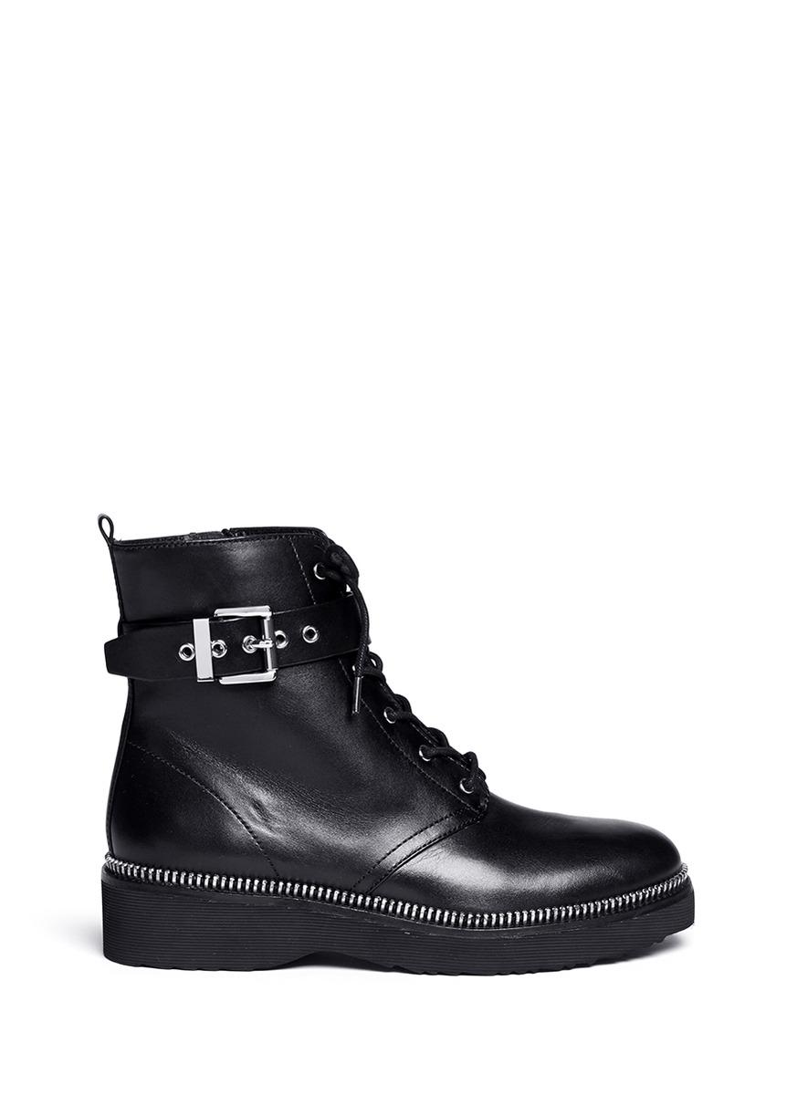 michael kors vivia zip trim leather boots in black lyst
