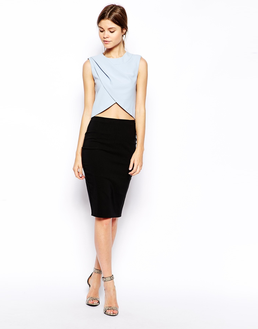 7c48d86500c ASOS Blue Pleat And Wrap Shell Top