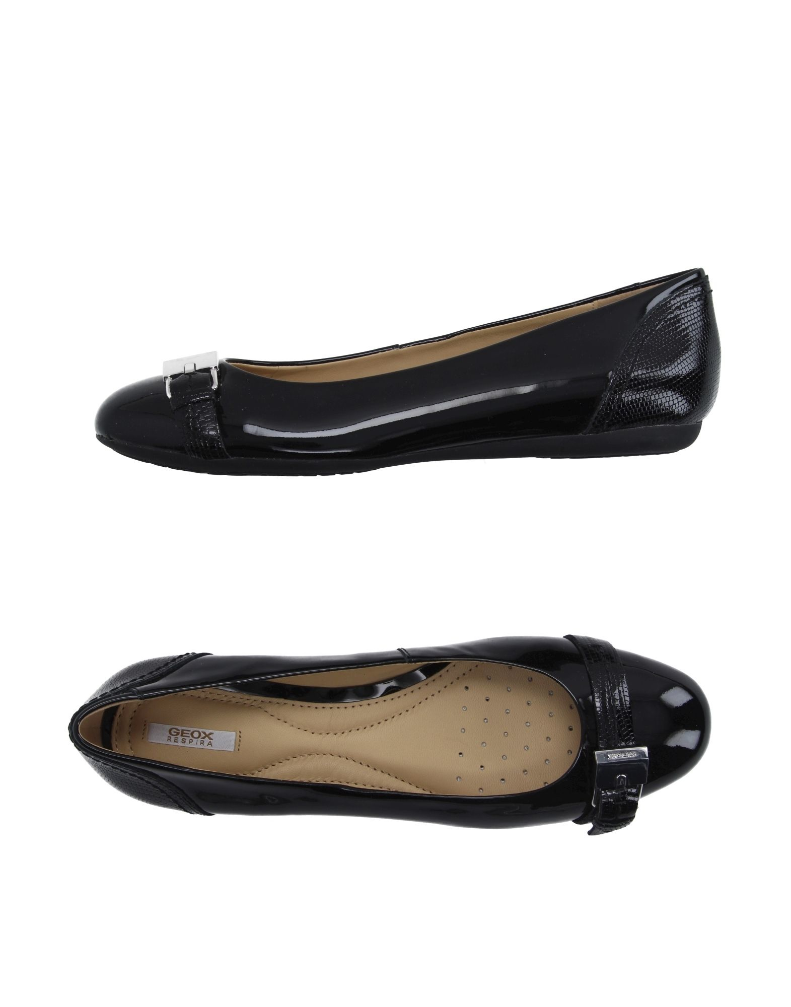 Geox Leather Ballerina Shoes Black