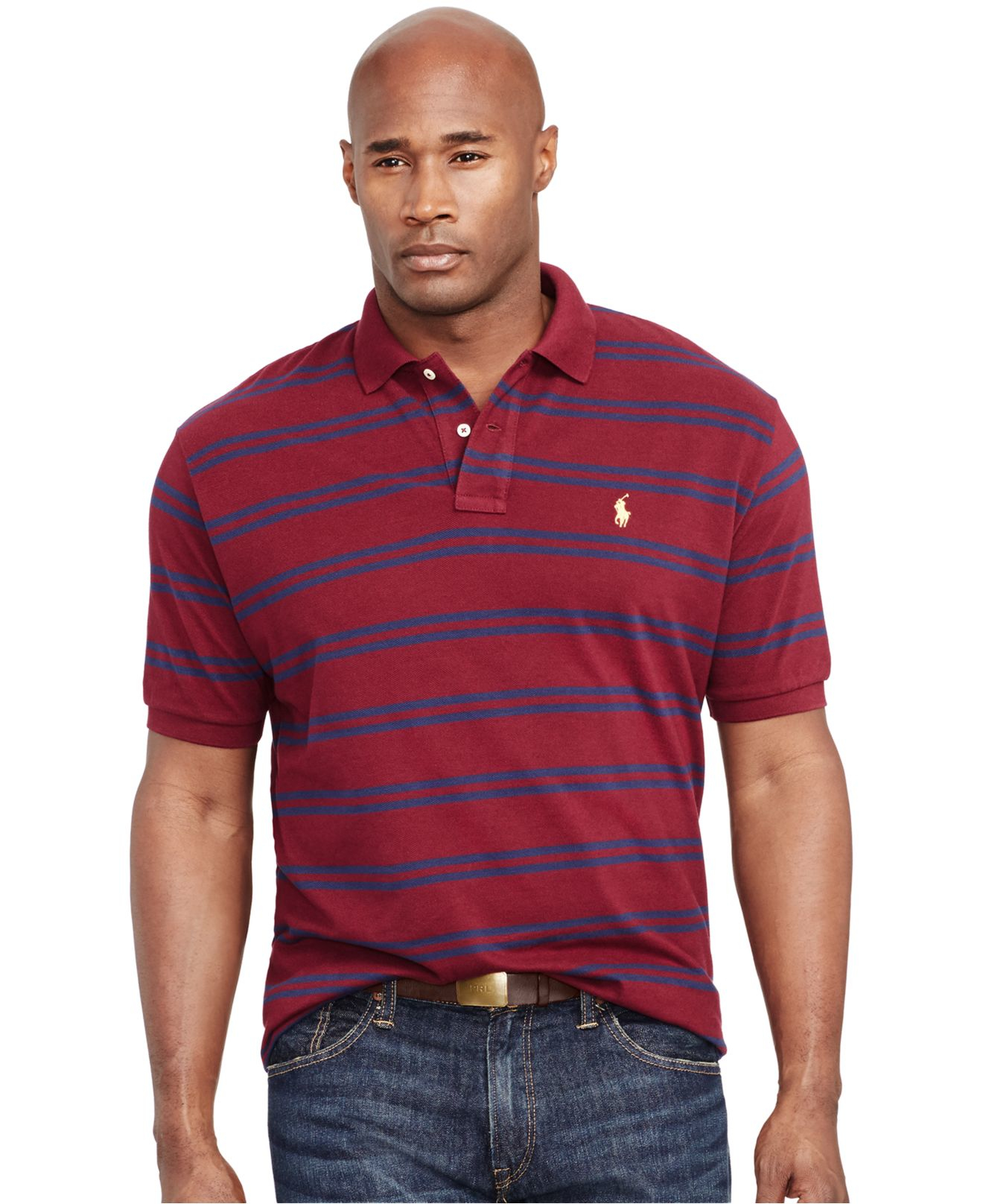 Lyst polo ralph lauren big and tall custom fit striped for Big and tall custom shirts