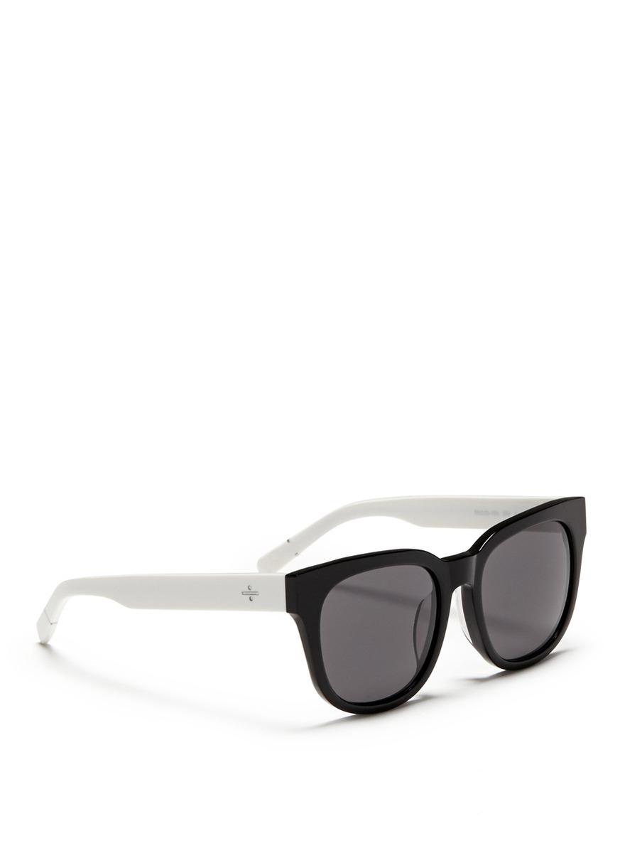 Blanc & Eclare 'seoul' Contrast Temple Acetate Round Sunglasses in Black