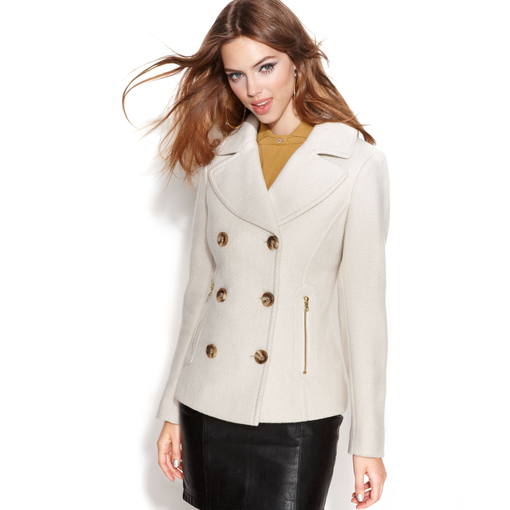 White/Cream Steve Madden Pea Coat. Small stain near slit on back. Size Small. Top (collar) button is missing. Nordstrom White Ivory Wool Pea Coat - size XS. $ 0 bids. Fitted with a flattering inset waist, oversized pockets, and fully lined inside with a fun a pattern. All buttons intact and no stains.