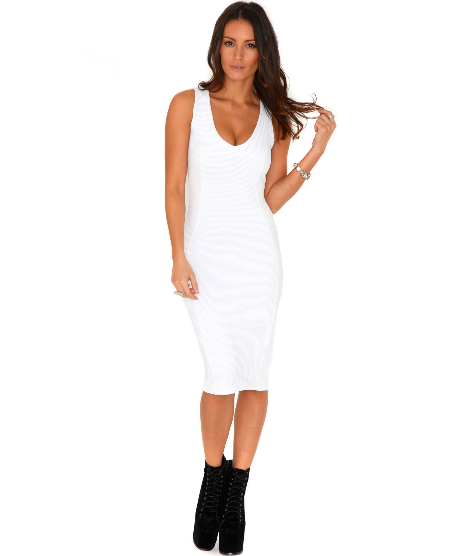 bdad3846e73f Missguided Ryana Ribbed Bodycon Midi Dress In White in White - Lyst
