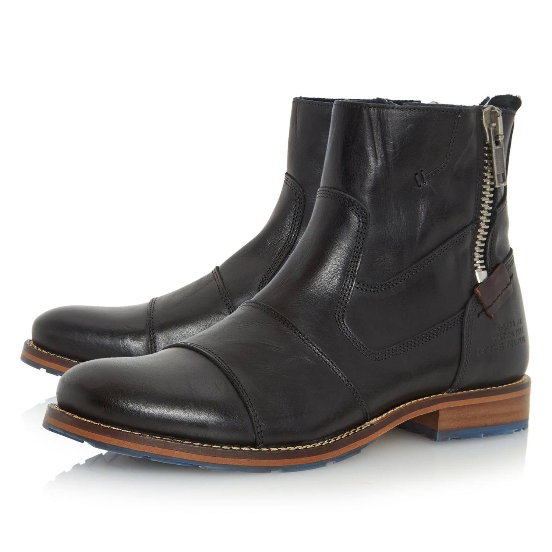 dune cackle toecap zip boots in black for lyst