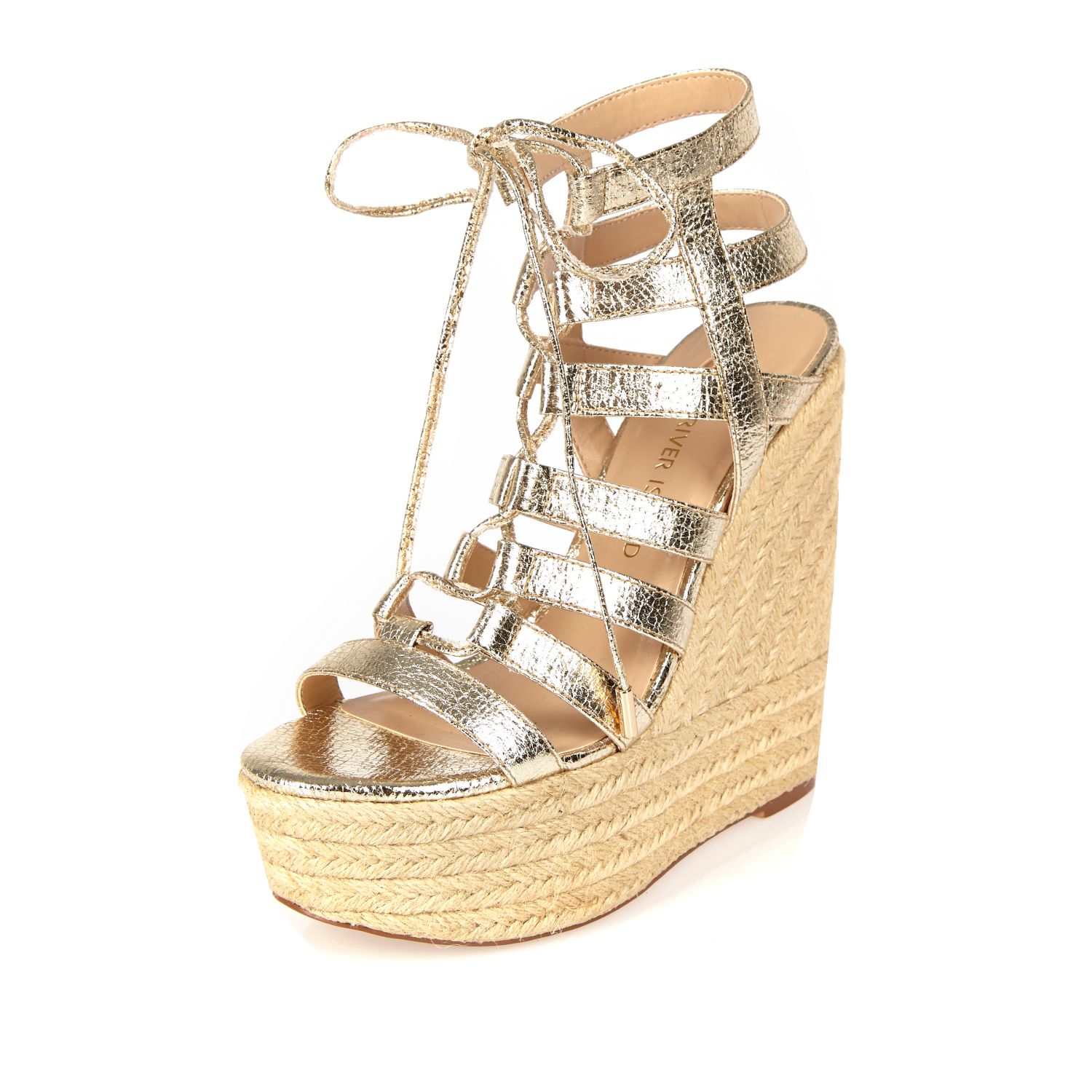 River Island Gold Gladiator Wedges In Metallic Lyst