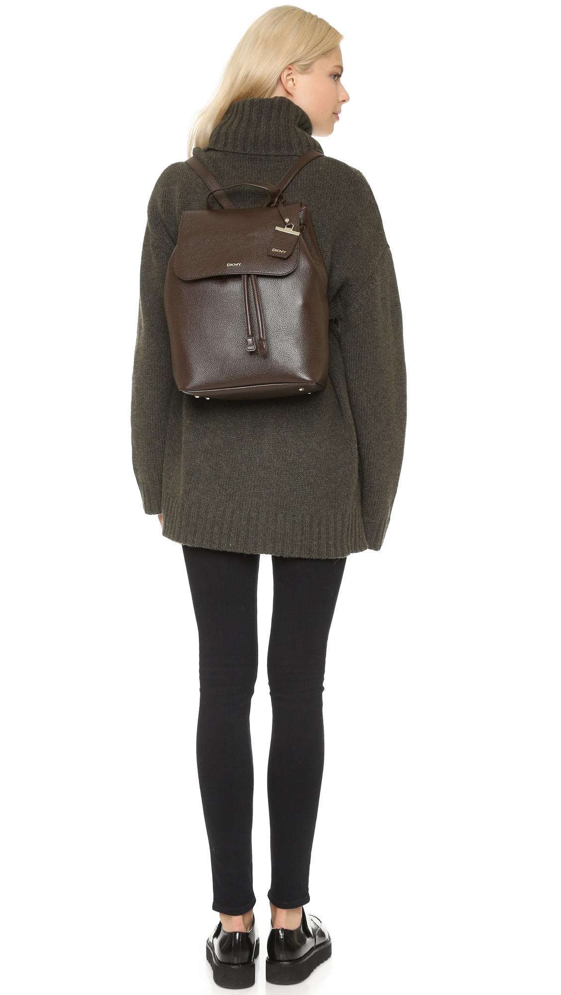 Lyst - Dkny Ego Leather Backpack - Dark Brown in Brown