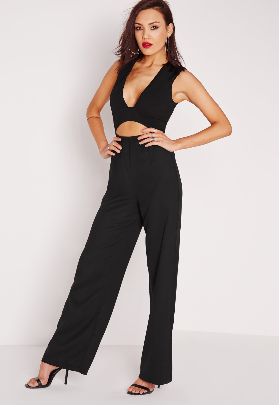 a46a97917aa Missguided Crepe Plunge Waist Cut Out Jumpsuit Black in .