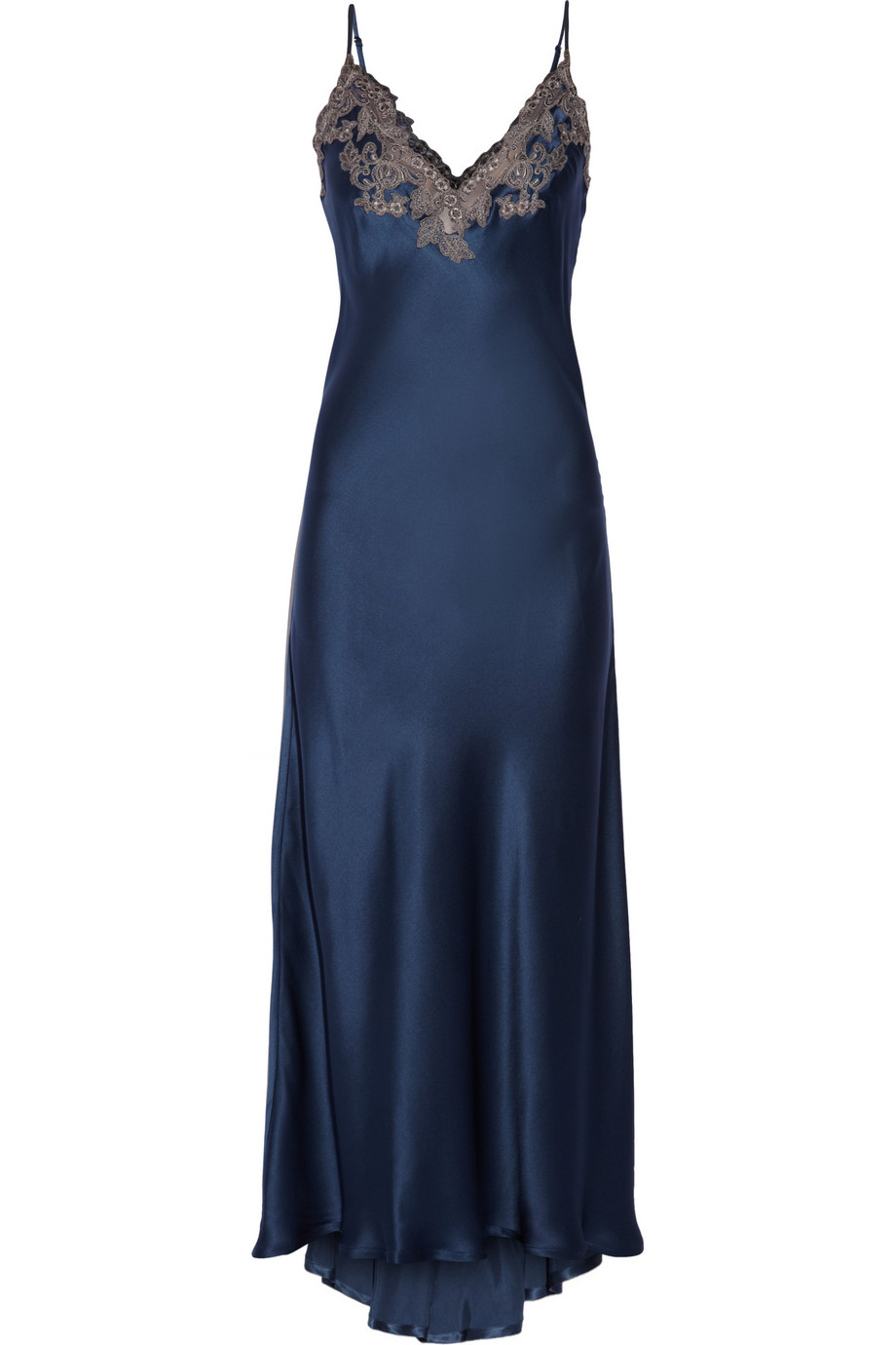 La perla Maison Lace-Trimmed Silk-Blend Satin Nightdress ...