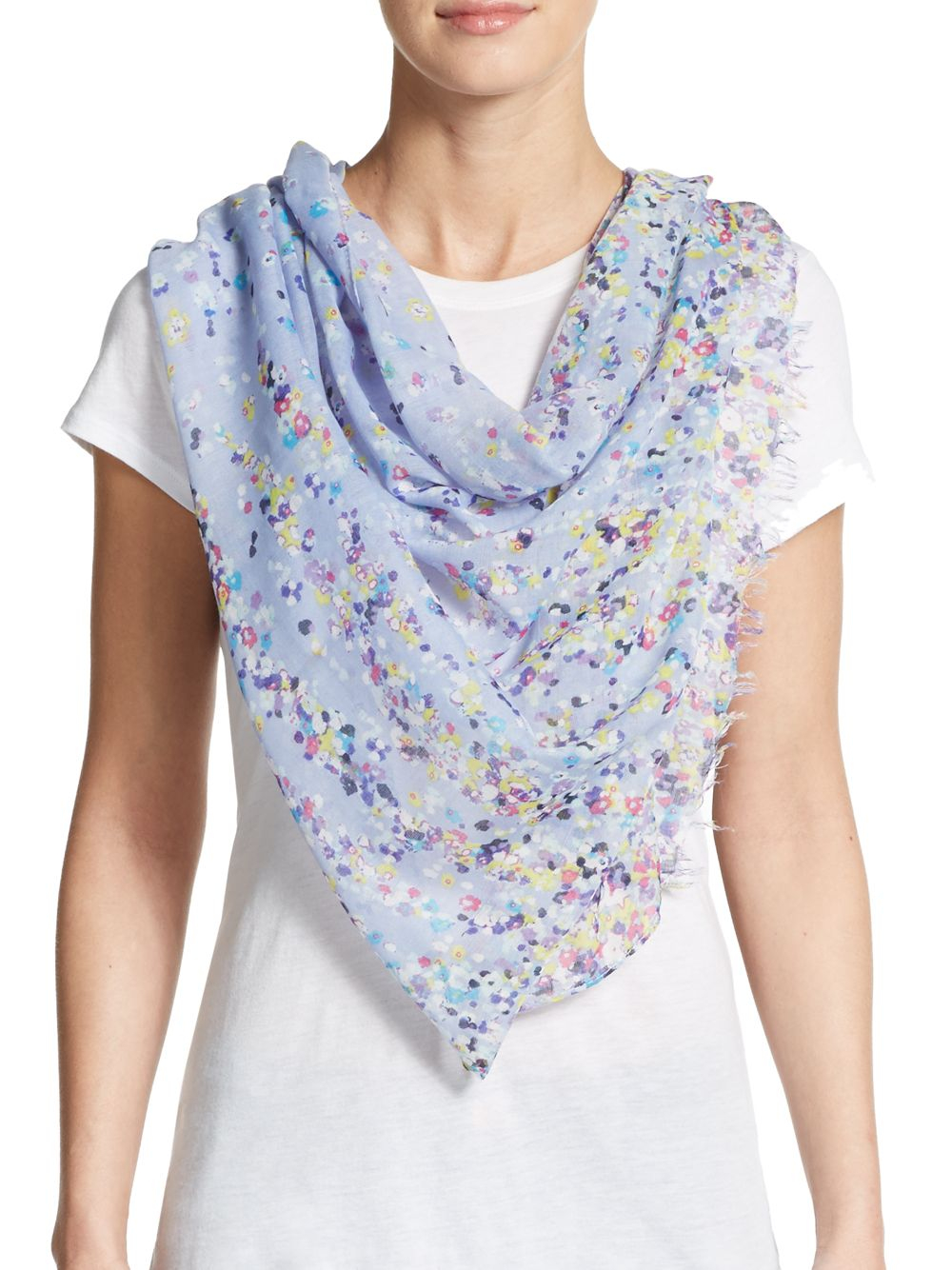saks fifth avenue floral print scarf in blue icy teal lyst