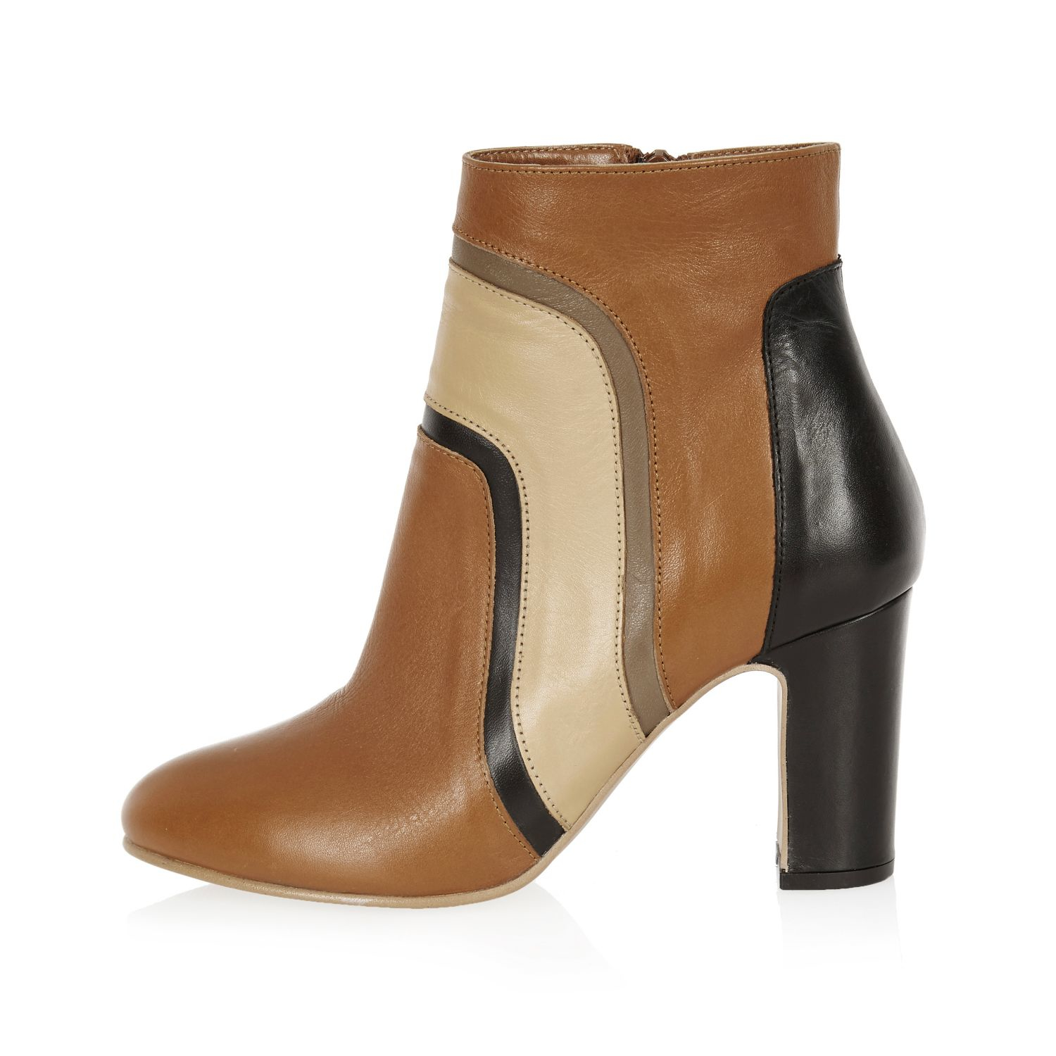 river island brown leather patchwork heeled ankle boots in
