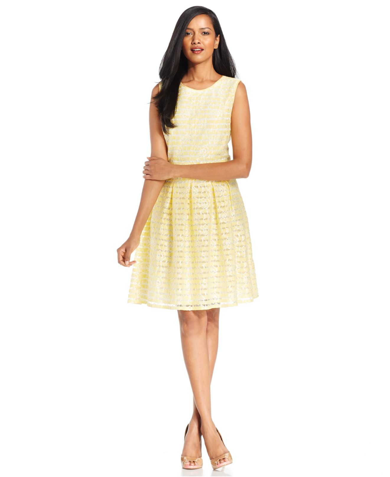 f87cf3361bcf0 Lyst - Nine West Striped Lace A-line Dress in Yellow